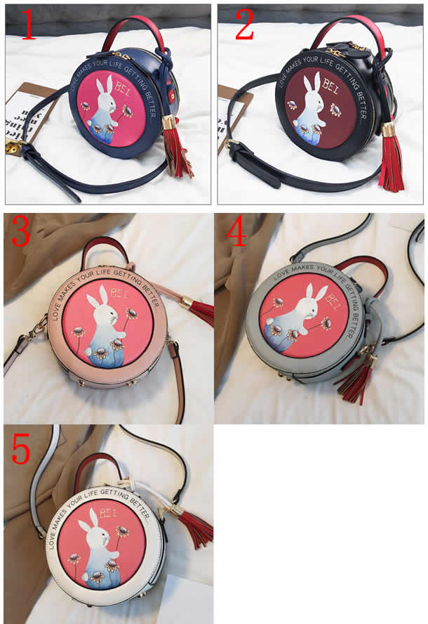 Cute Cartoon Rabbit Round Handbag Shoulder Bag