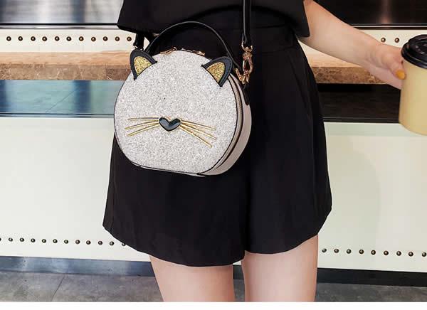 Cute Cute bearded cartoon cat girl handbag shoulder bag