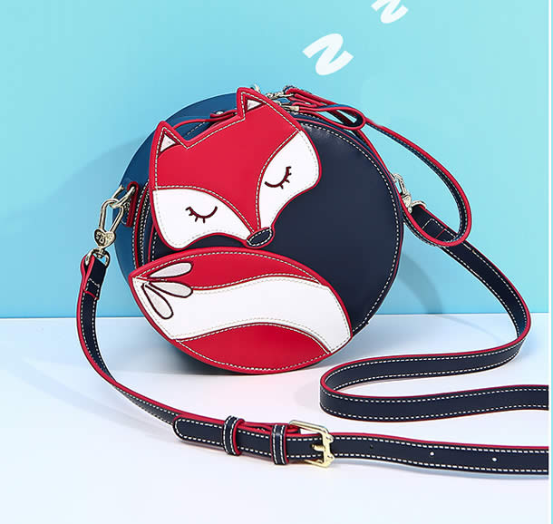 Cute cartoon little fox girl travel round shoulder bag