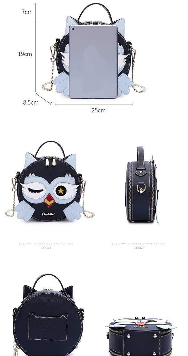 Fashion cute cartoon owl round handbag shoulder bag