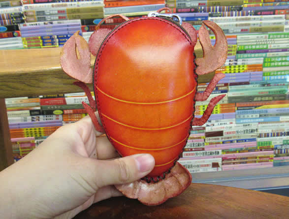 Fun red crayfish handmade leather coin purse