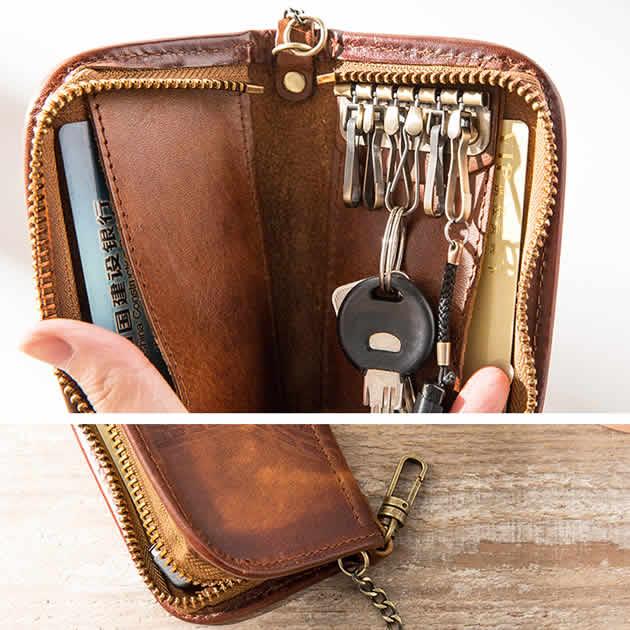 Vintage Mens Genuine Leather Cowhide Organizer Car key Card Case Wallet