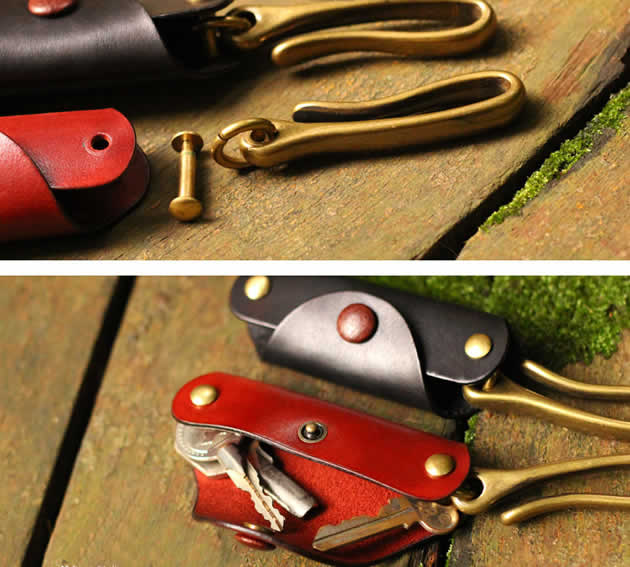 Vintage handmade leather brass combination key case