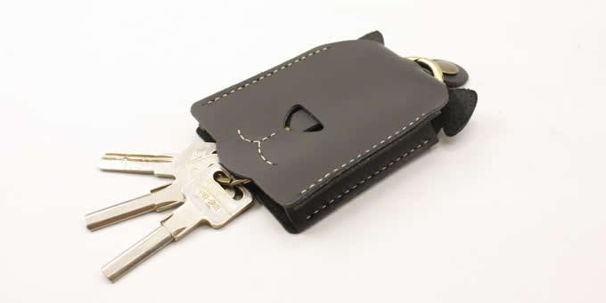 Leather Dog Face Key Bag with Key Ring