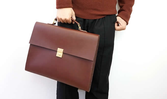 Genuine Leather Briefcase  Laptop Business Bag for Men & Women,Fits under to 13.3 inch Laptop