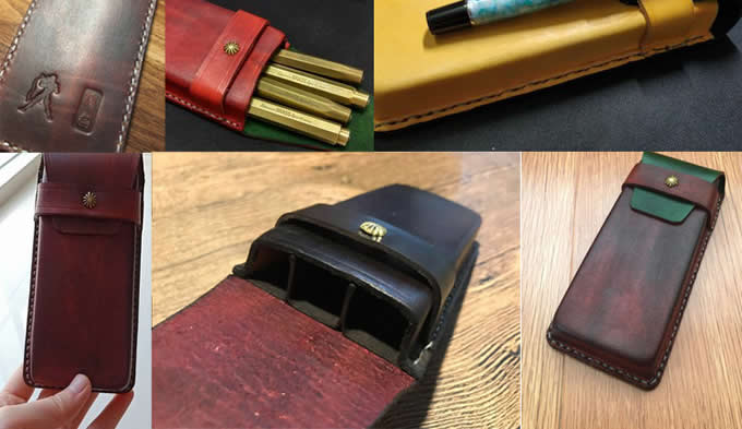 Genuine Leather Pen Case Holder Pouch Bag for Pen Pencil Ballpoint Pen