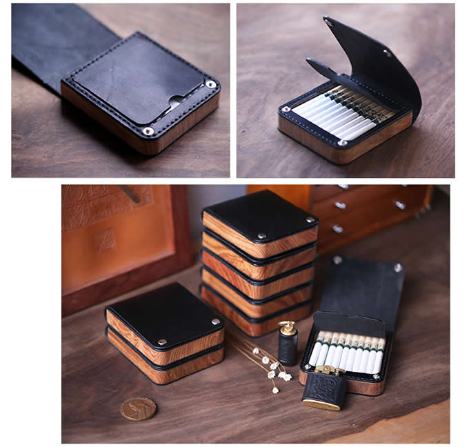 Genuine Leather&Wooden Cigarette Case