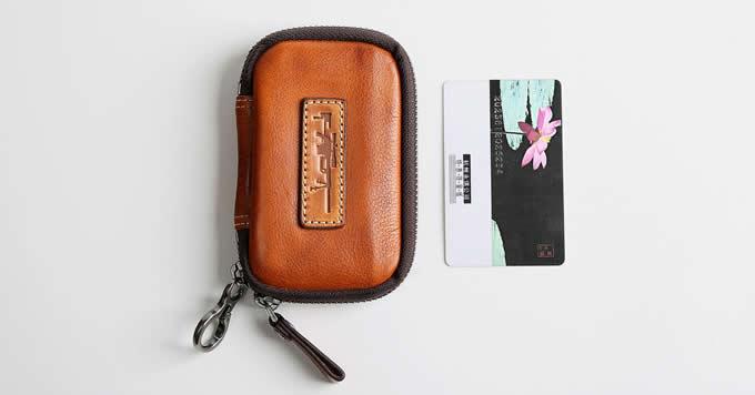 Handmade Genuine Leather Car Key Case Wallet Key Holder Bag for Men Women