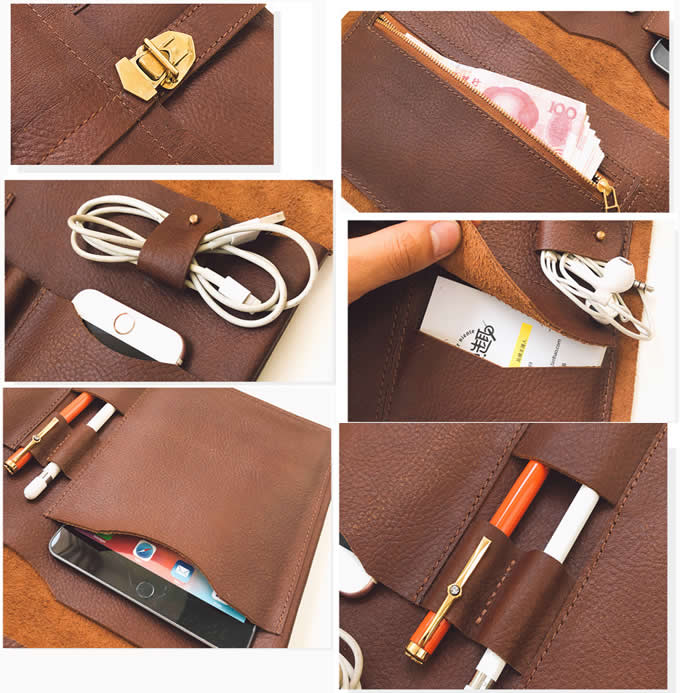 Handmade Genuine Leather  Laptop Sleeve Leather Case Tablet Carrying Bag for MacBook 13