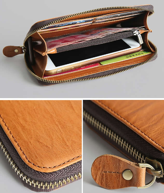 Handmade Leather Card Organizer Phone holder Wallet Coin Purse
