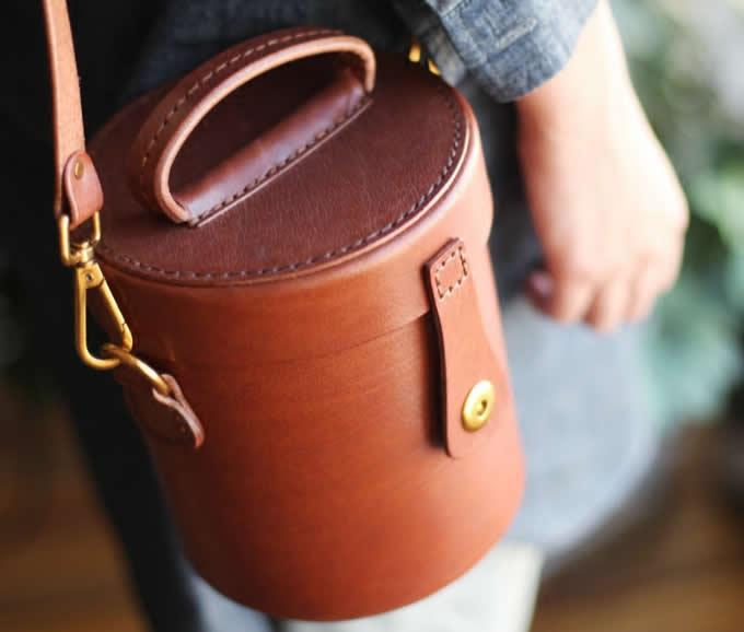 Handmade Leather Cylinder Shaped Purse Shoulder Bag