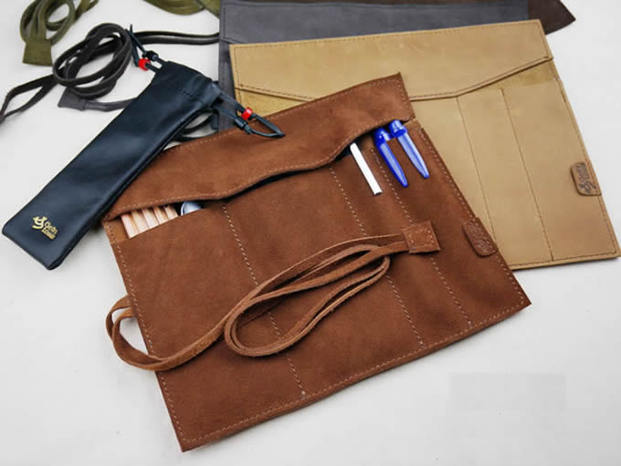 High-capacity  Leather  Pencil Case
