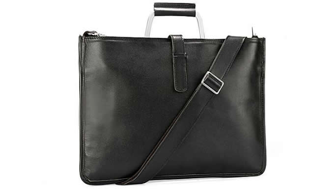 Mens Leather Handbag Zipper Briefcase Shoulder Crossbody Messenger Bag