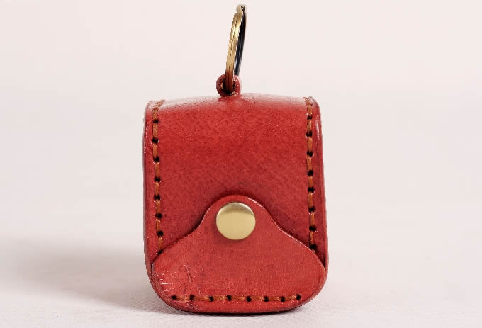 Pig Leather Coin Purse with Keychain