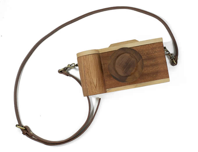 Handmade Wooden Camera Small Crossbody Cell Phone Purse Wallet With Shoulder Strap