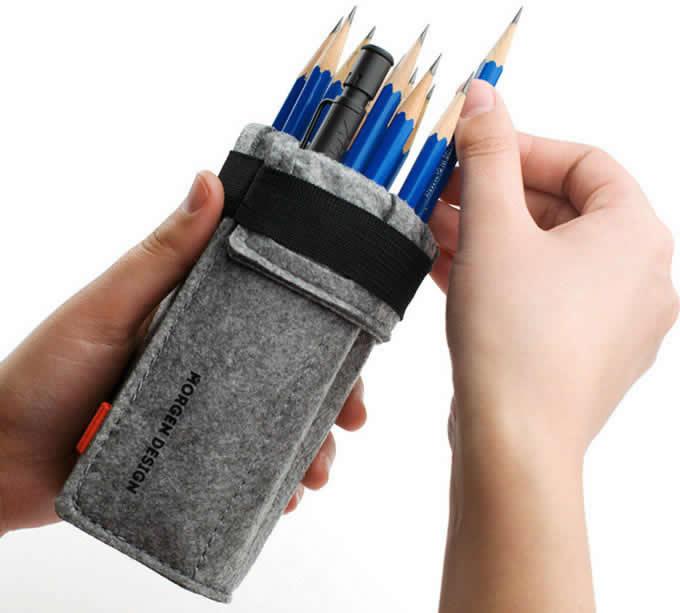 Wool Felt   Roll Up Style Pen Pencil Case