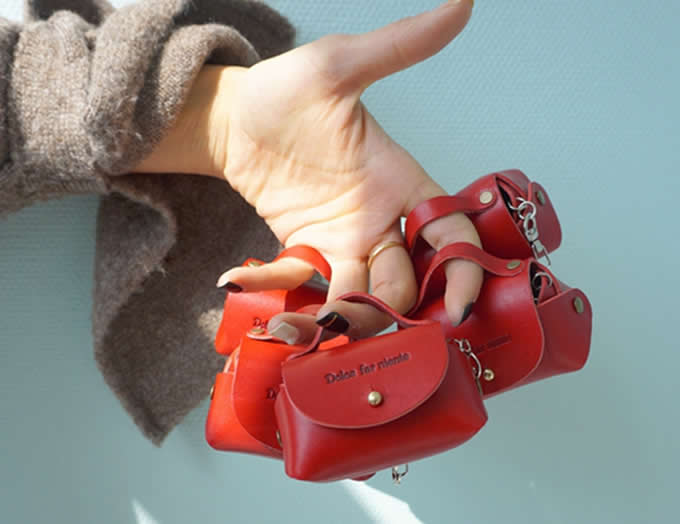 handmade Leather HandBag Shaped Coin Purse Wallet