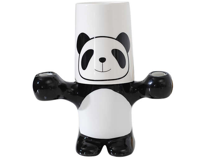 Ceramic Panda Toothbrush Toothpaste Stand Holder With Cup