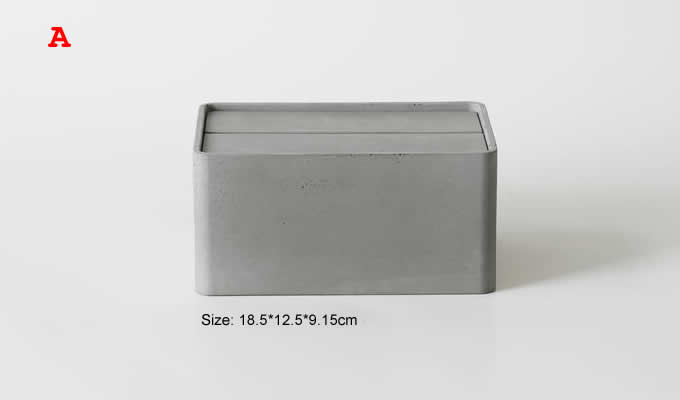 Concrete Tissue Box Holder with Lid