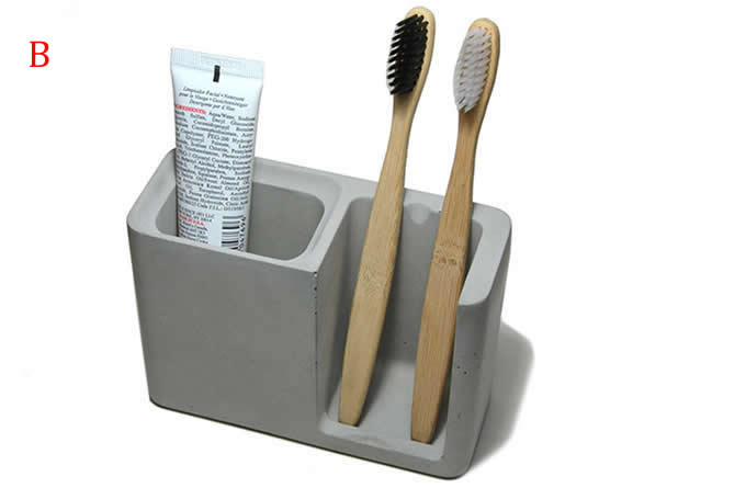 Concrete Toothbrush Toothpaste Stand Holder with Soap Dish