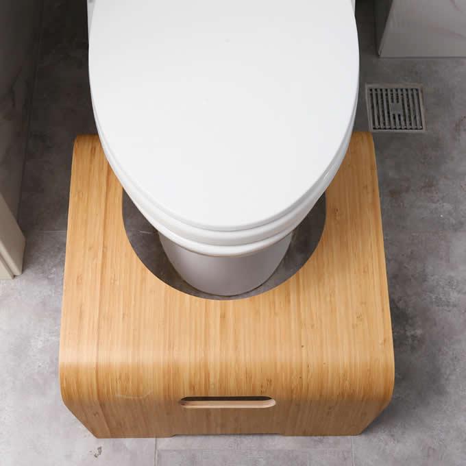 Natural Bamboo Wood Bathroom Toilet Stool