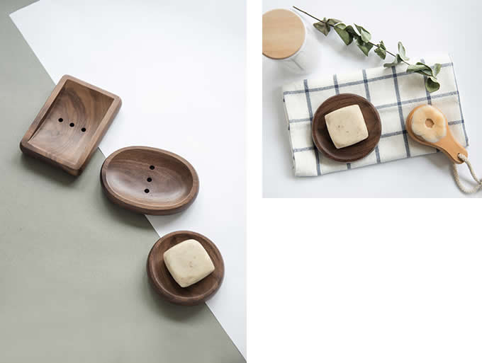 Natural Bamboo Wooden Bathroom Shower Soap Dish Storage Holder Plate Tray