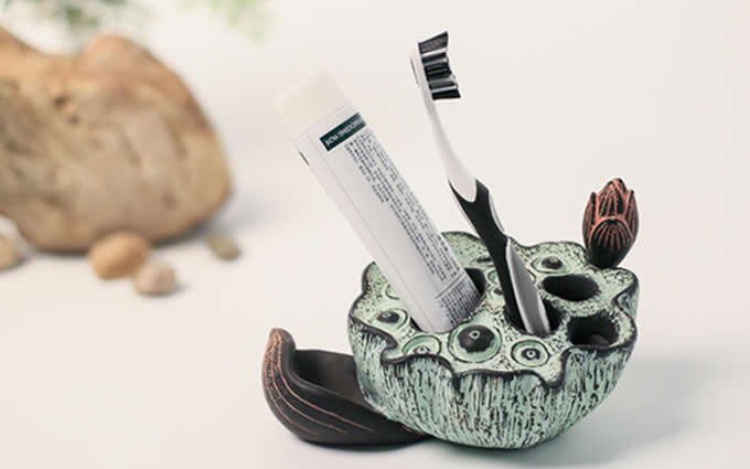 Lotus Seedpod Toothbrush Toothpaste Stand Holder