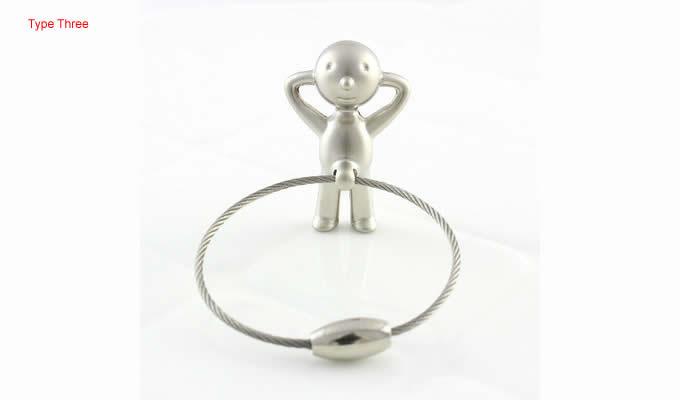 3pcs/Set  Little Boy  Keyring Keychain Silver