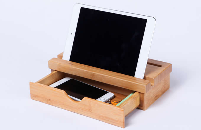 bamboo drawer organizer with smartphones tablets holder