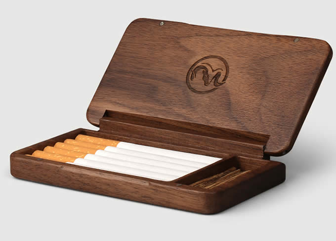 Black Walnut Wooden Cigarette Case Feelgift