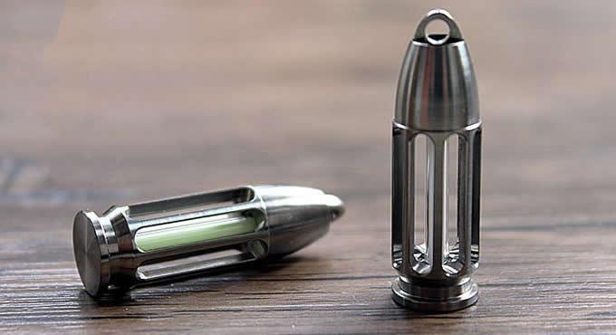 Bullet Head Tritium Nite Self-Luminous Pendant Keychain Light