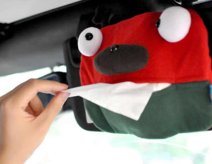 Car Sun Visor Plush Monster Tissue Box
