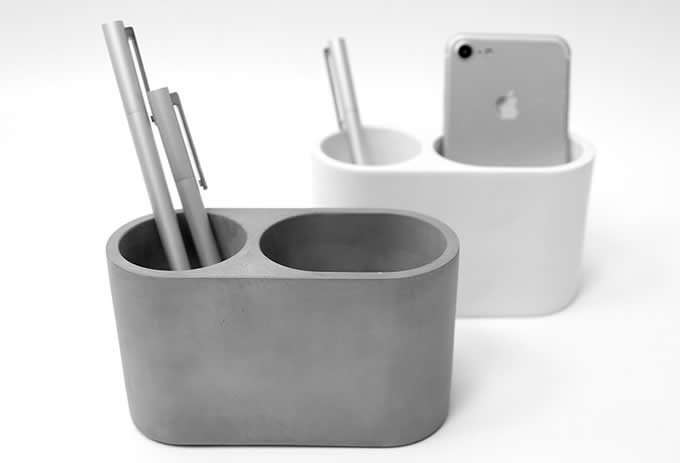 Concrete  Office Desktop Supplies 2 Compartments Storage  Pen Holder