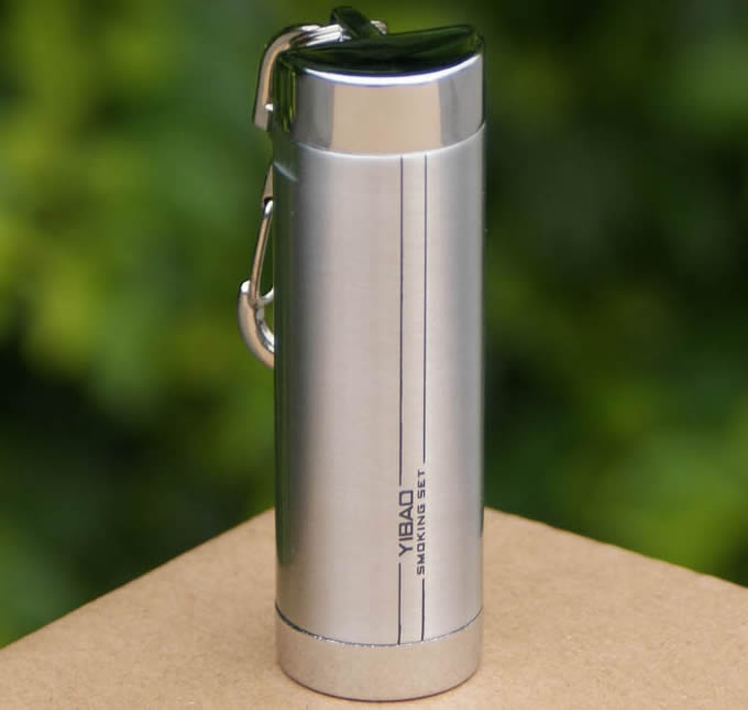 Cylinder Portable Pocket Ashtray  with Keychain