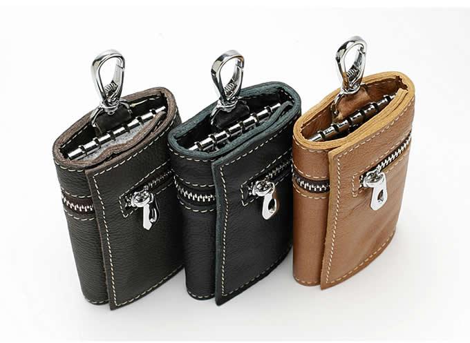 Leather Pocket Tri-fold Key Wallet/Holder with 6 Hooks