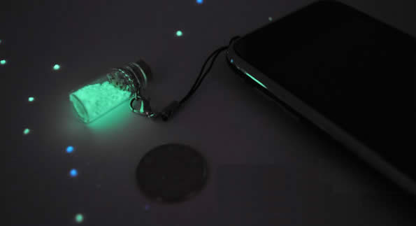 Luminous Star Sand from Secret Beach of Okinawa Mobile Phone Strap- Set of 2