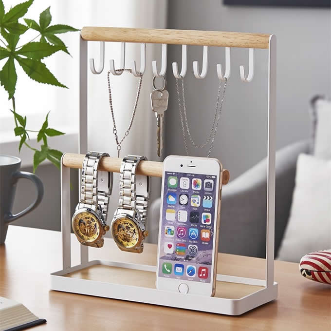 Multi-purpose Keys Hooks Jewelry Organizer Hanging Storage Bracelet Display Rack Holder