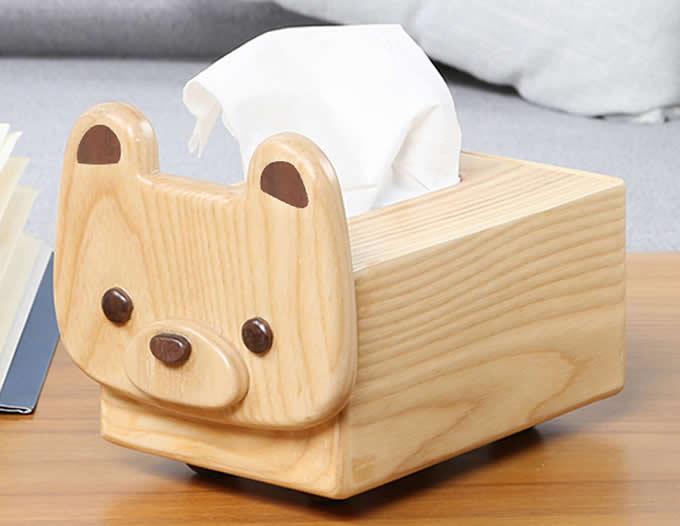 Natural Solid Wood Handmade Dog &Cow Tissue Box