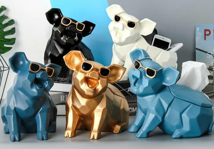 Resin Pig Tissue Box Home Ornaments