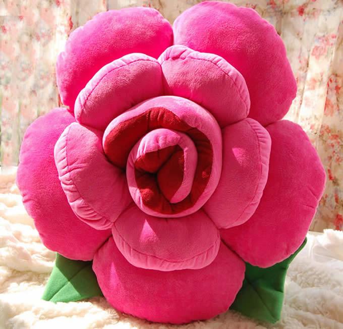 Rose Shaped Decorative Pillow Back Cushion Feelgift