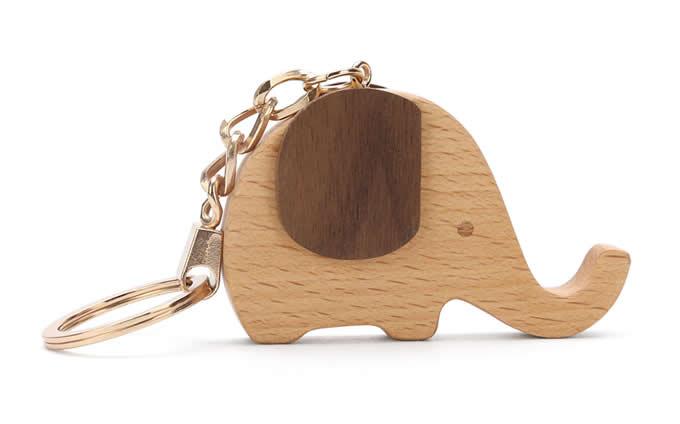 Wood Elephant Keyring Keychain