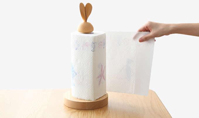 Wooden Chicken & Rabbit Toilet Paper Roll Holder