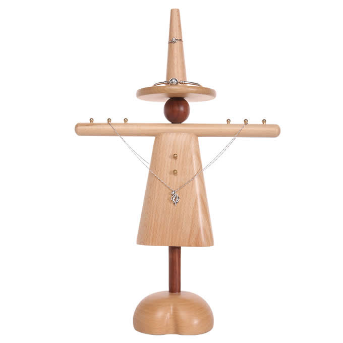 Wooden Humanoid Shaped Necklace Ring Earring Stand Holder Display Jewelry Organizer 