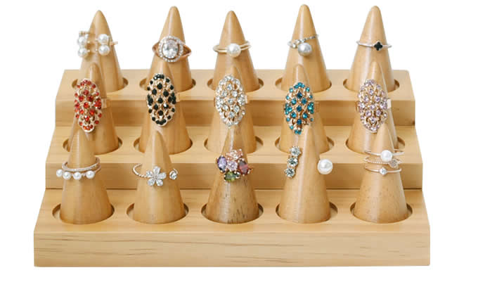 15 Pieces Natural Wood Plain Stand Cone Decorating Ring Display With Base