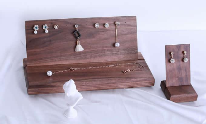 Black walnut Jewelry  Earrings Holder Earring Display Stand Jewelry Display shelf Show Case Organizer Tray