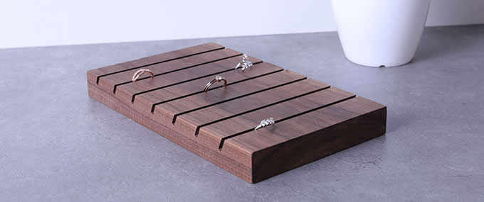 Black walnut  Ring Earrings Studs Tray Showcase Display Jewelry Organizer