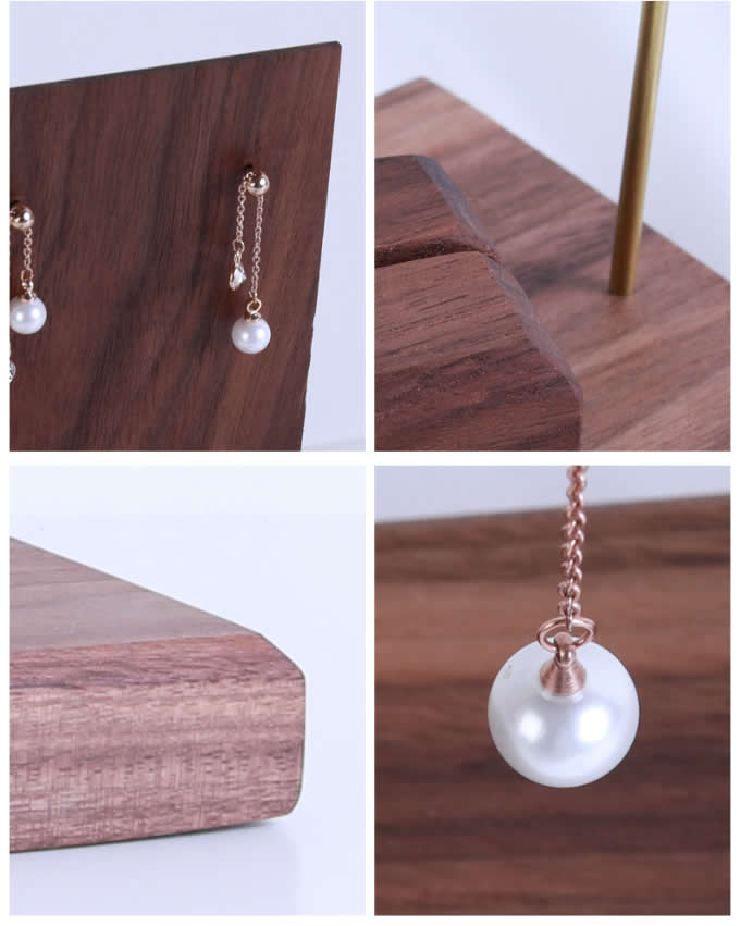 Black walnut Wooden Earring Necklace Jewelry Display Organizer Stand
