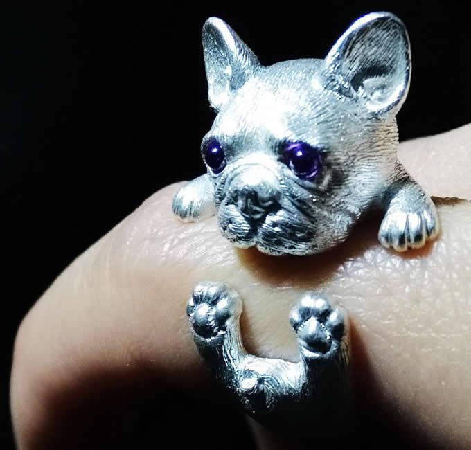 925 Silver Handmade Cute Dog Ring