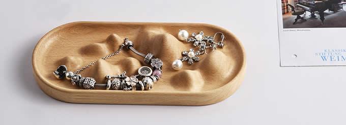 Black Walnut Wooden Necklace Jewelry Display Tray Case, Jewelry Storage Box Organizer