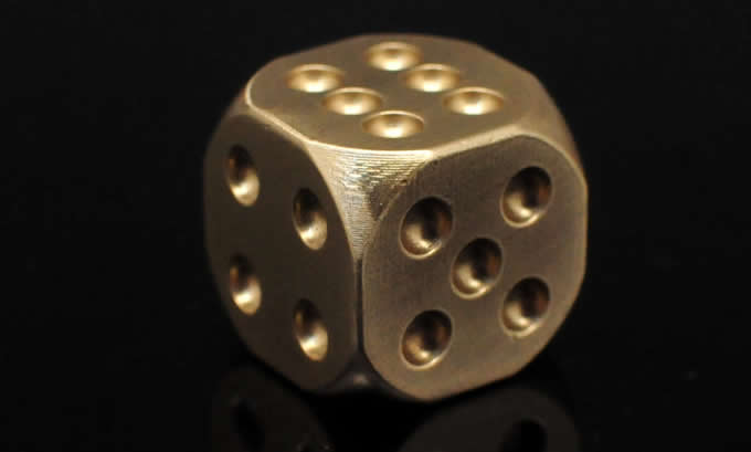 13mm Solid Brass 6 Sided Dice 5 In 1 Set In A Box Feelgift